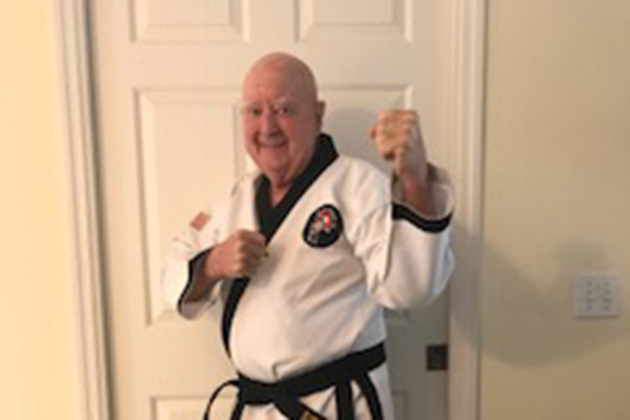 Sid Baumann '56 Receives His Taekwondo Black Belt